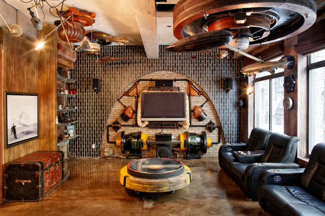 Manhattan Steam Punk Loft Eclectic Living Room New