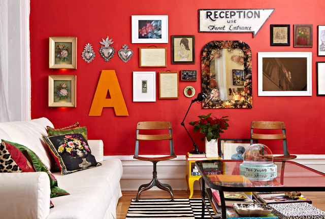 red wall living room - best furniture decor ideas
