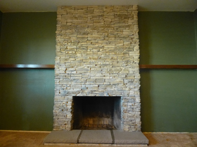 Manufactured Stone Fireplace contemporary-living-room