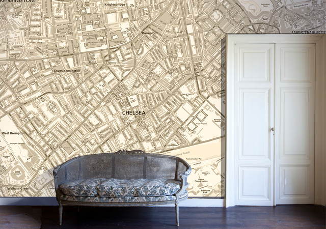 Map Wall Paper map wallpaper - eclectic - living room - london -wallpapered