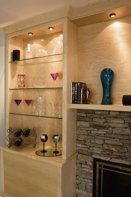 Maple Media Cabinet Built Around Stone Fireplace - - Contemporary - Living Room - dc metro - by ...