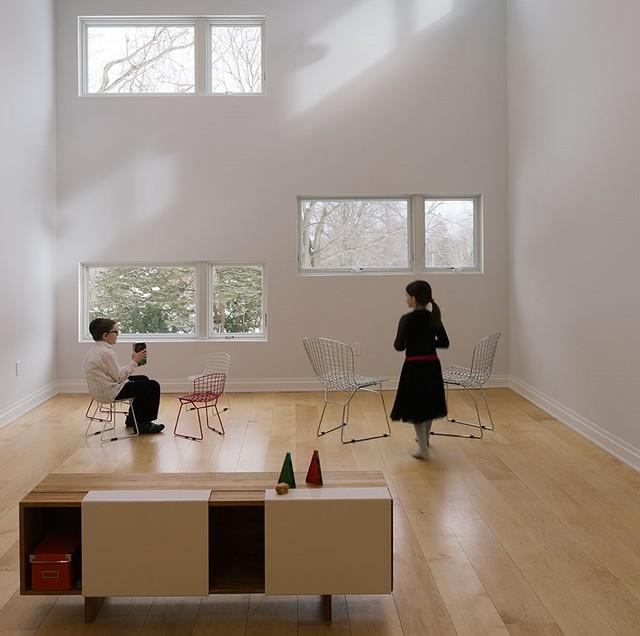 Maple Wood Floors Wide Plank Midcentury Living Room