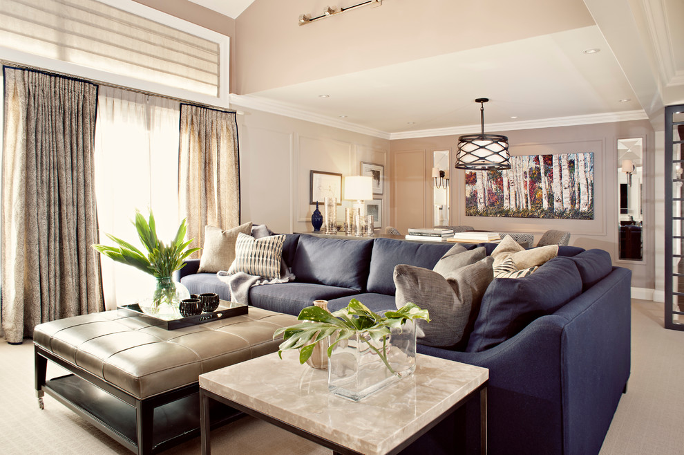 Example of a trendy carpeted living room design in Toronto with gray walls