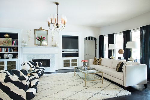 Merveilleux Go Modern And Luxurious With Black, White And Gold Decor | Schlage.  Transitional Living Room ...