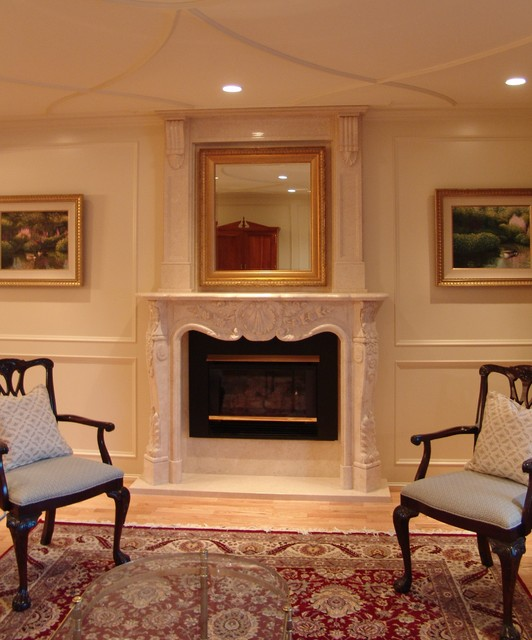 Marble Fireplace Mantels Traditional Living Room