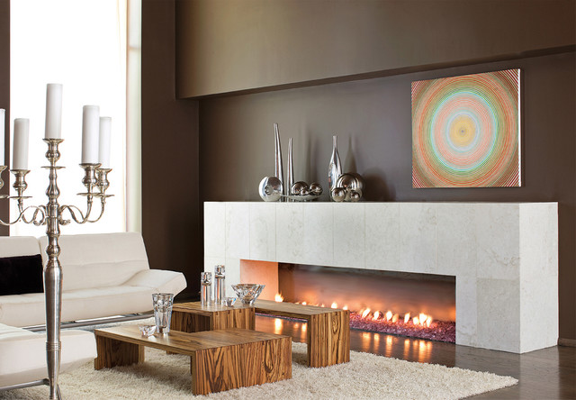 Marble Fireplace Contemporary Living Room Atlanta