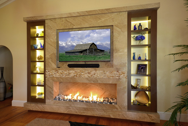 Marble Fireplace/TV wall with Wenge custom frosted glass back lit shelves - Transitional ...