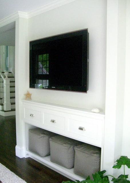 Coastal living room photo in Boston
