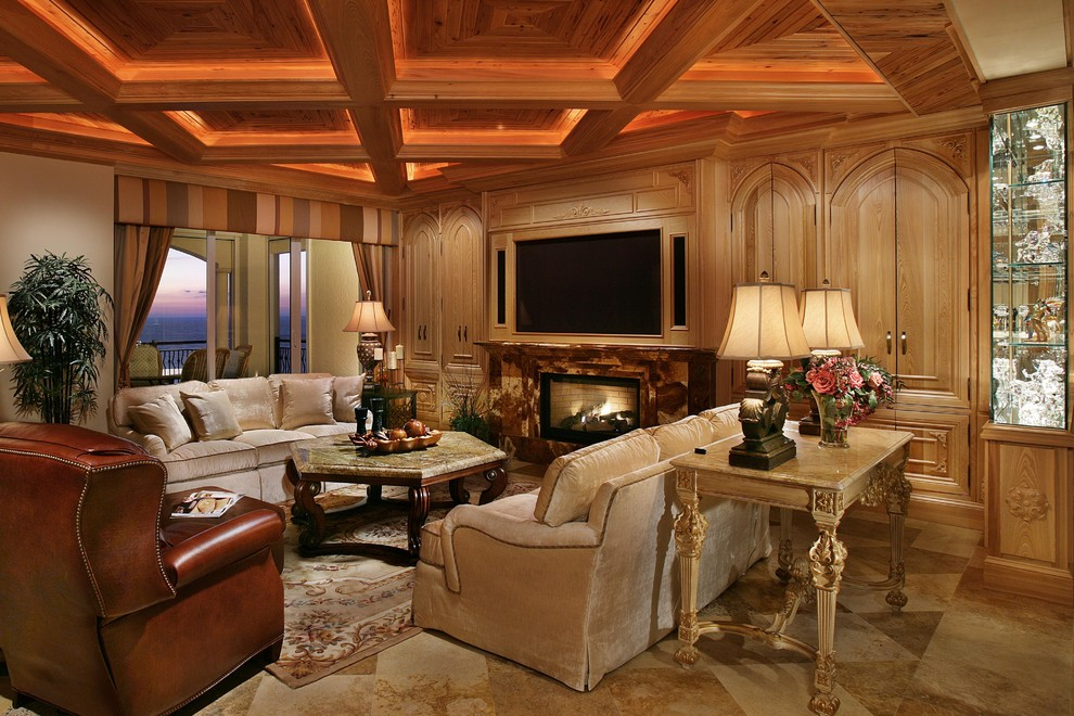Large elegant formal and open concept travertine floor living room photo in Miami with beige walls, a standard fireplace, a stone fireplace and a wall-mounted tv