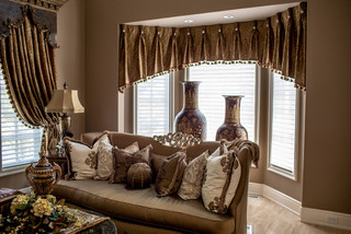 Traditional Living Room Window Treatments marge carson living room with custom window treatments