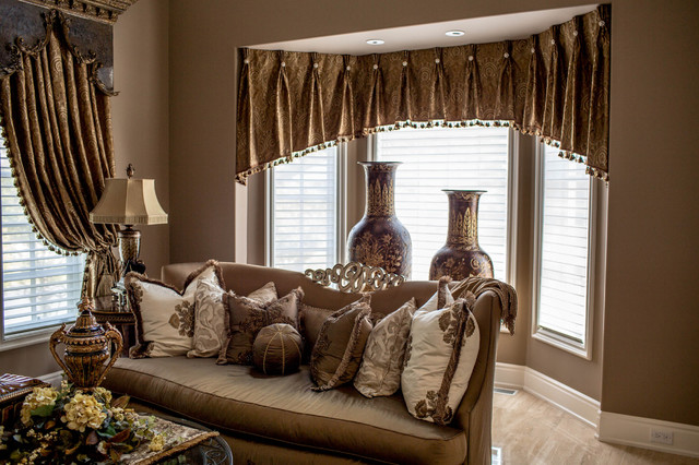 Marge carson living room with custom window treatments - Living room picture window treatments ...