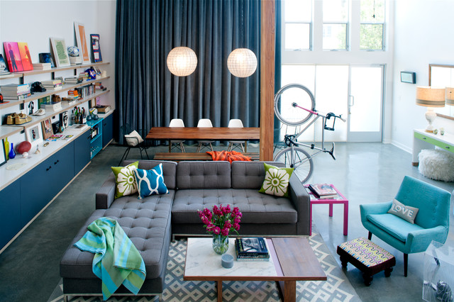 eclectic living room by Daleet Spector Design