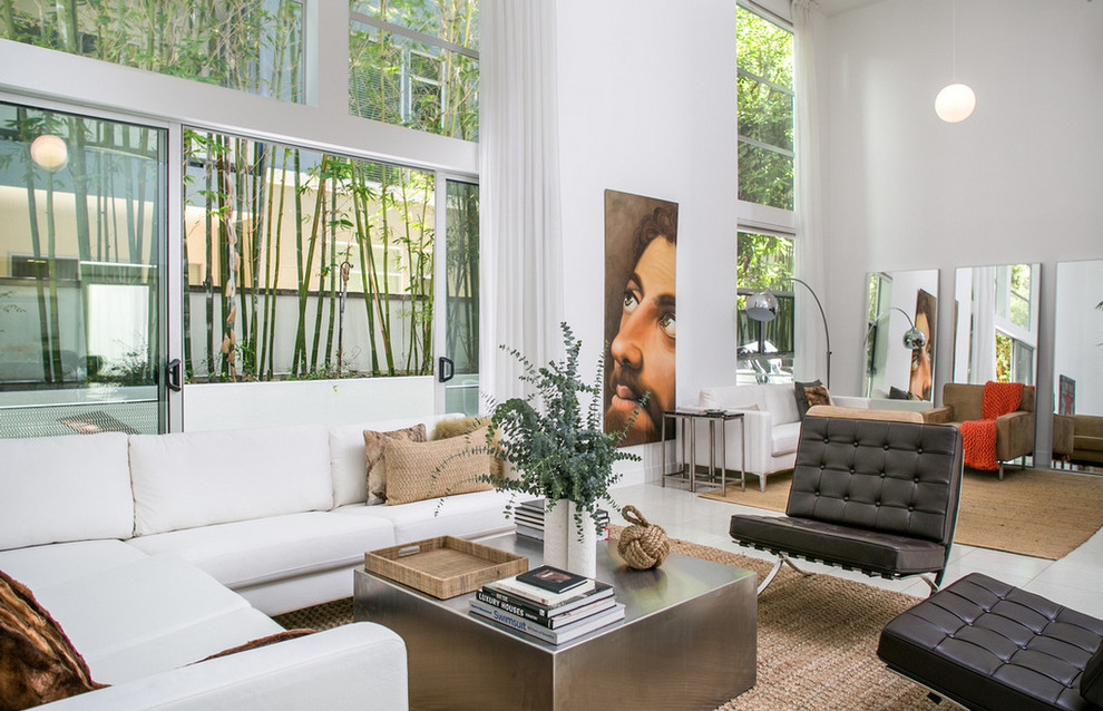 Example of a trendy living room design in Los Angeles