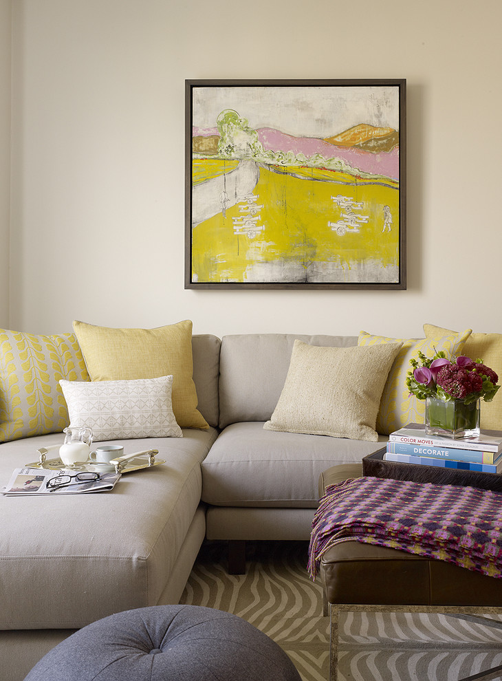Inspiration for a transitional living room remodel in San Francisco with beige walls