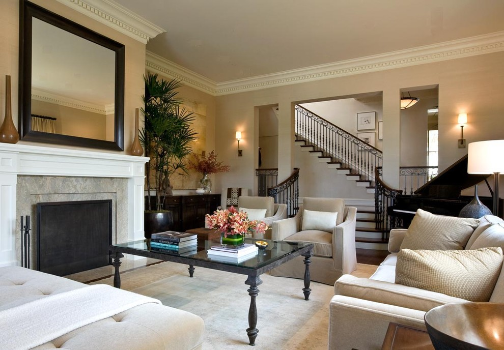 Trendy living room photo in San Francisco with beige walls and a standard fireplace