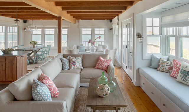 Martha's Vineyard Interior Design cottage - Beach Style - Family Room - boston - by Eric Roth ...
