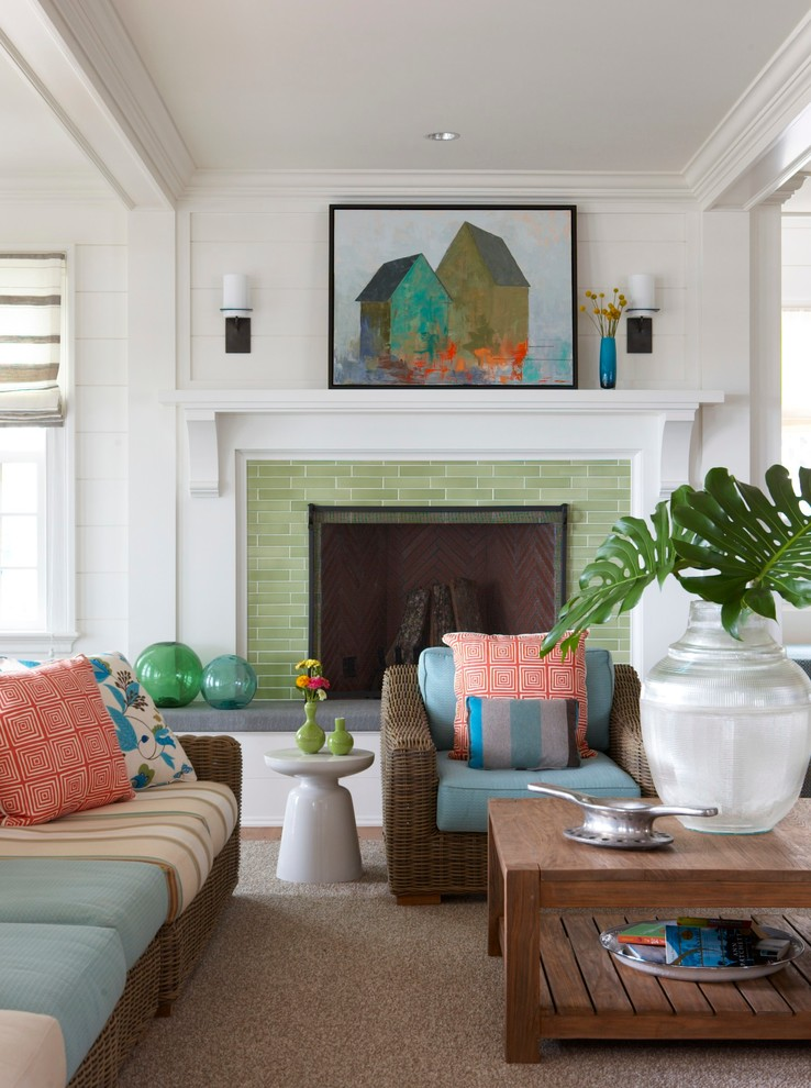Beach style living room photo in New York with white walls