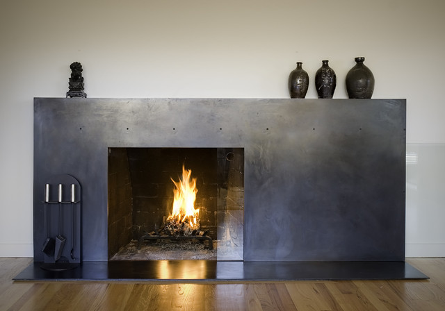 Blacken steel fireplace surround. Design collaboration with Jack Kearney of Company K.  Photography by Mike Kubik