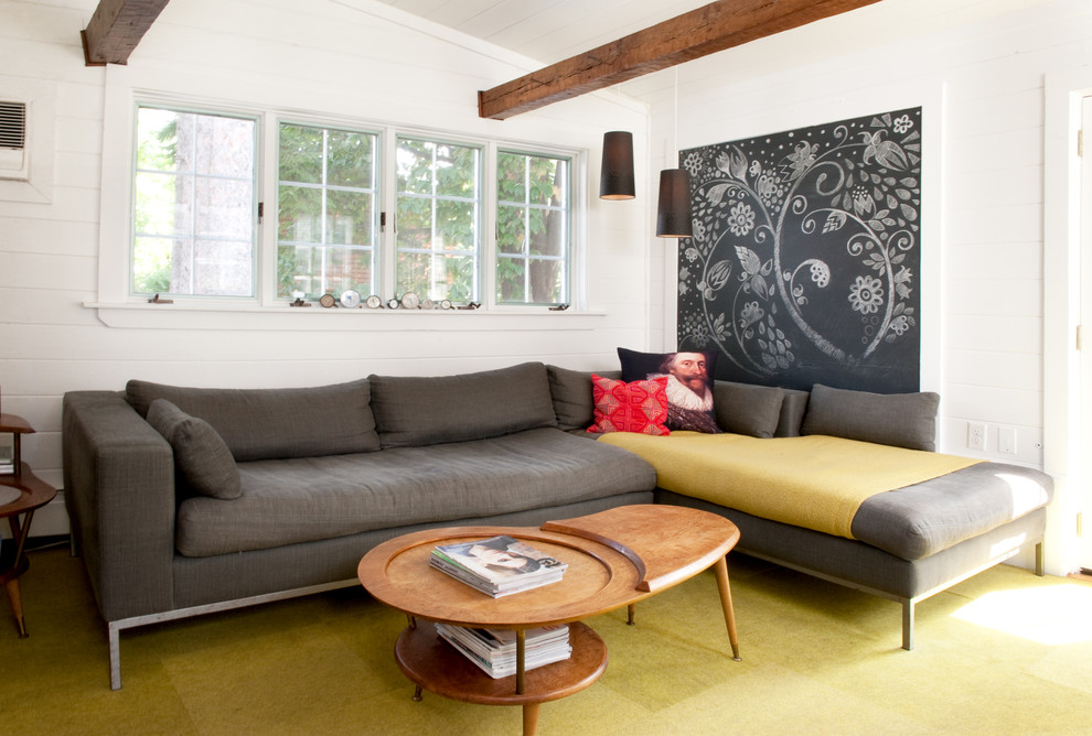 Mid-sized trendy living room photo in Boston with white walls