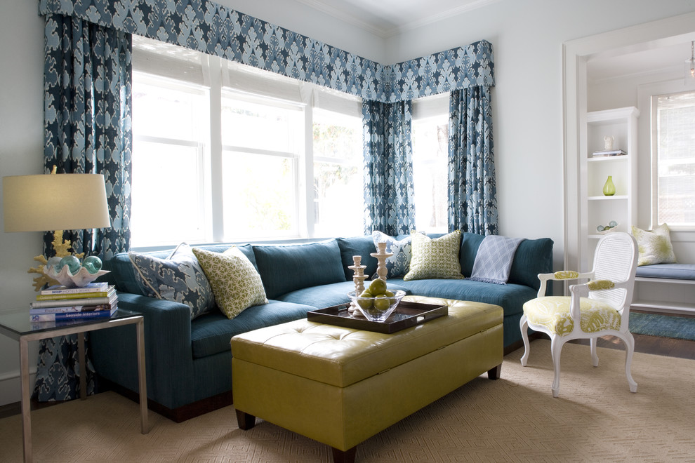 Example of a trendy living room design in San Francisco with blue walls