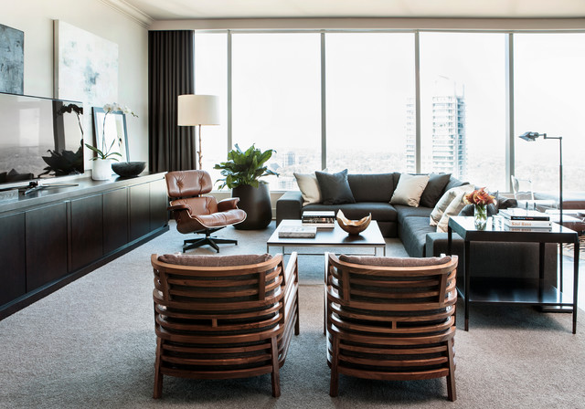 Masculine Condo At The Ritz Carlton Residence Contemporary Living Room