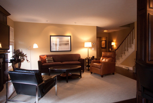 Masculine Transitional Living Space Modern Living Room