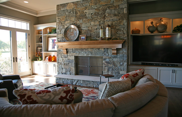 Massive Stone Fireplace Traditional Living Room