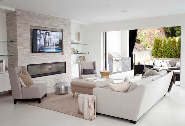 Contemporary Living Room Idea In Vancouver With A Stone Fireplace Part 77