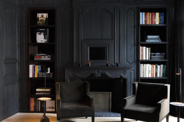 bedroom drapery ideas photos - Matte Black room space Traditional Living Room by