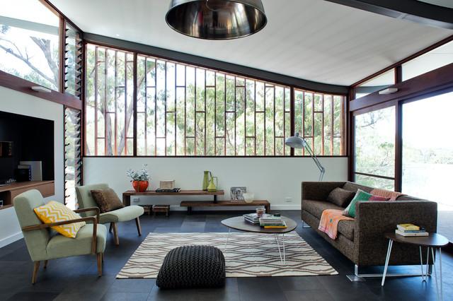Mayfair Street House midcentury-living-room
