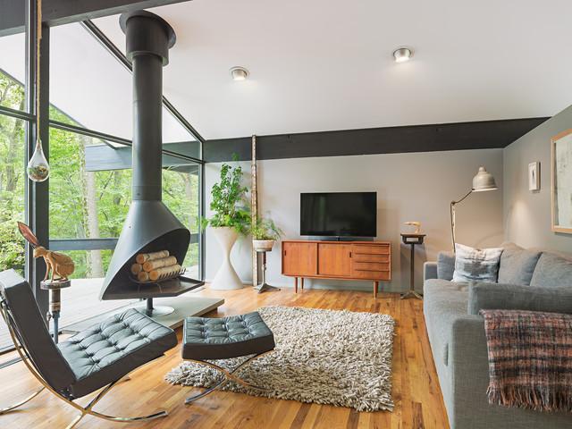 Upper Main Line Residence - Midcentury - Living Room - Philadelphia ...