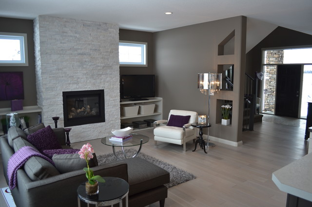 Superieur Example Of A Transitional Living Room Design In Calgary With Gray Walls, A  Standard Fireplace