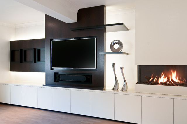 Media & Fireplace bespoke joinery - Contemporary - Living Room ...