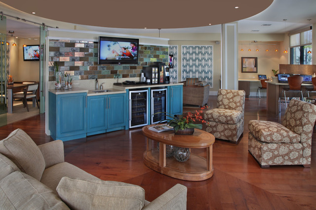 Media Center Beverage Station Contemporary Living Room Tampa By KDS