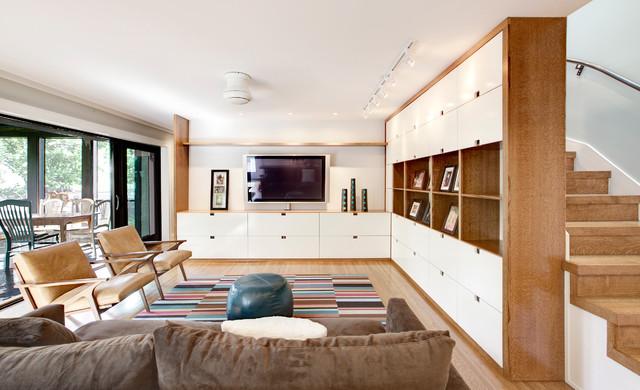 Media Center Scandinavian Living Room Indianapolis By HAUS Architec