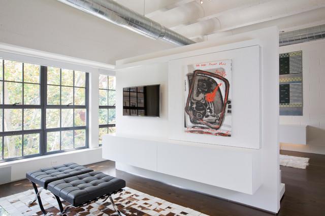 Media Center With Hidden Television Industrial Living Room