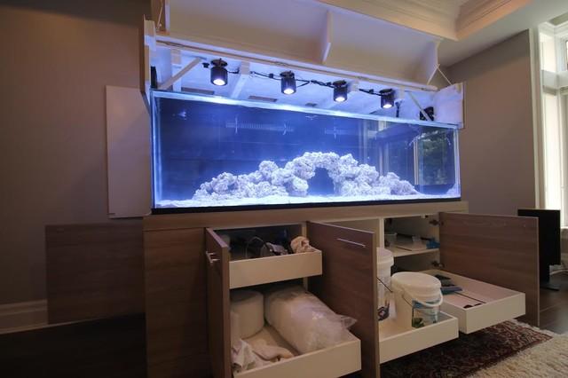 media room with aquarium