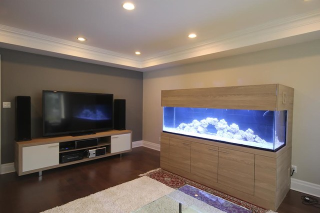 Media Room with Aquarium contemporary living room. Media Room with Aquarium