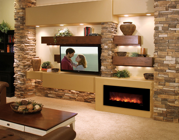 Media Wall Contemporary Living Room Phoenix by Stone Creek