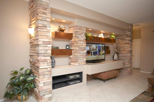 Media wall w alder beams and stone columns contemporary for Living room columns