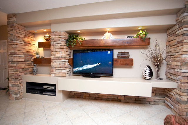 Media Wall W Alder Beams And Stone Columns Contemporary