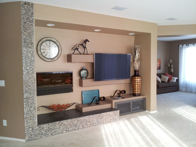 media wall w/ electric fireplace - modern - living room - phoenix