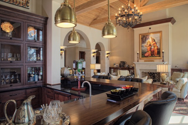 Mediterranean Home in Gated Golf Community rustic-living-room