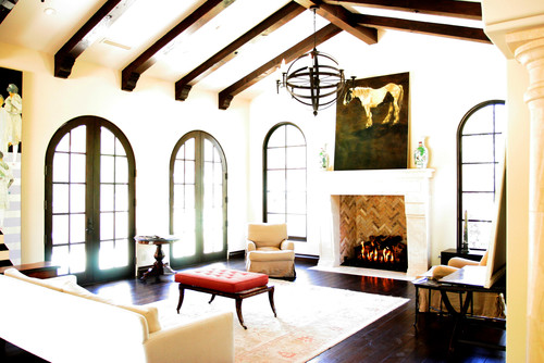 spanish style living room ideas with 8ft ceilings - Cup Half Full Ceiling Beams