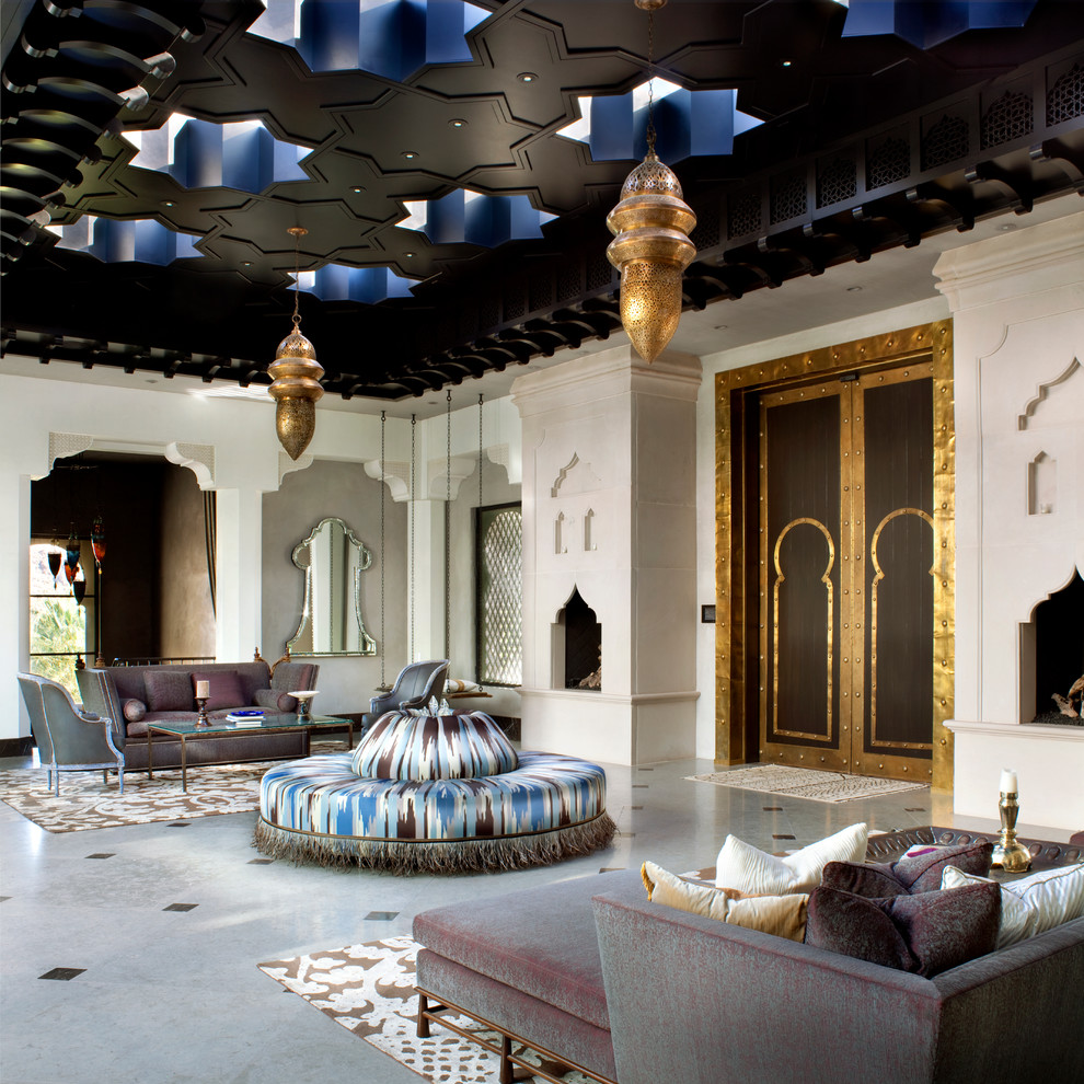 Living room - mediterranean formal and open concept living room idea in Other