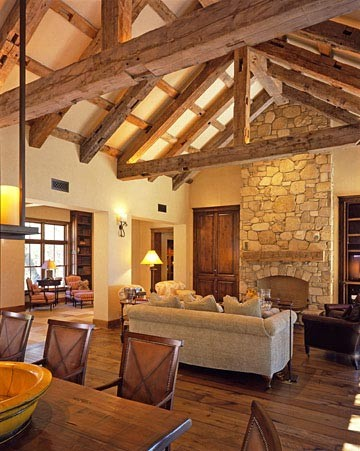 Exposed beams not just for barns anymore - Living room ceiling beams ...