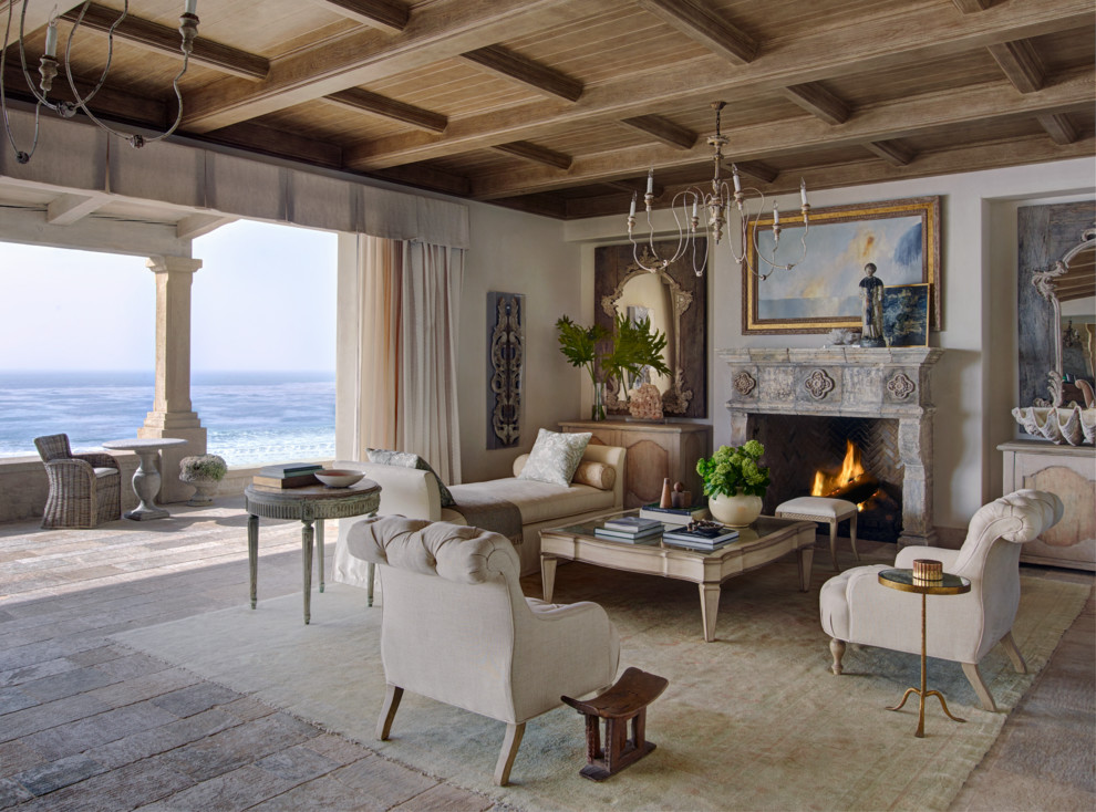 Living room - mid-sized mediterranean formal and open concept light wood floor and beige floor living room idea in Orange County with white walls, a standard fireplace, a stone fireplace and no tv