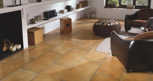 Porcelanosa Marsella Caldera Floor Tiles Mediterranean Living Room