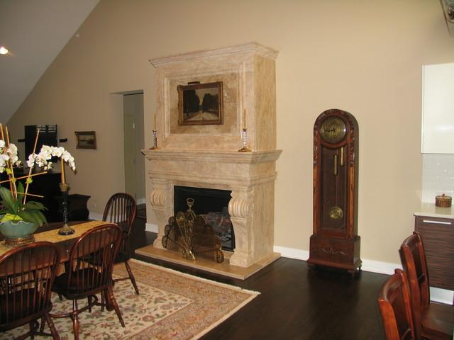 Melrose Overmantel in Antique Beige Travertine transitional-living-room