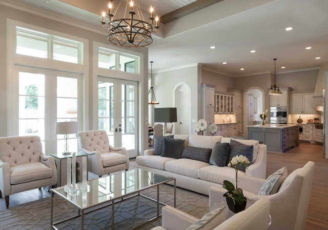 Memorial Country French - Transitional - Living Room ...